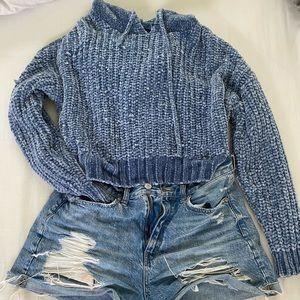 Blue crocheted American eagle crop sweater